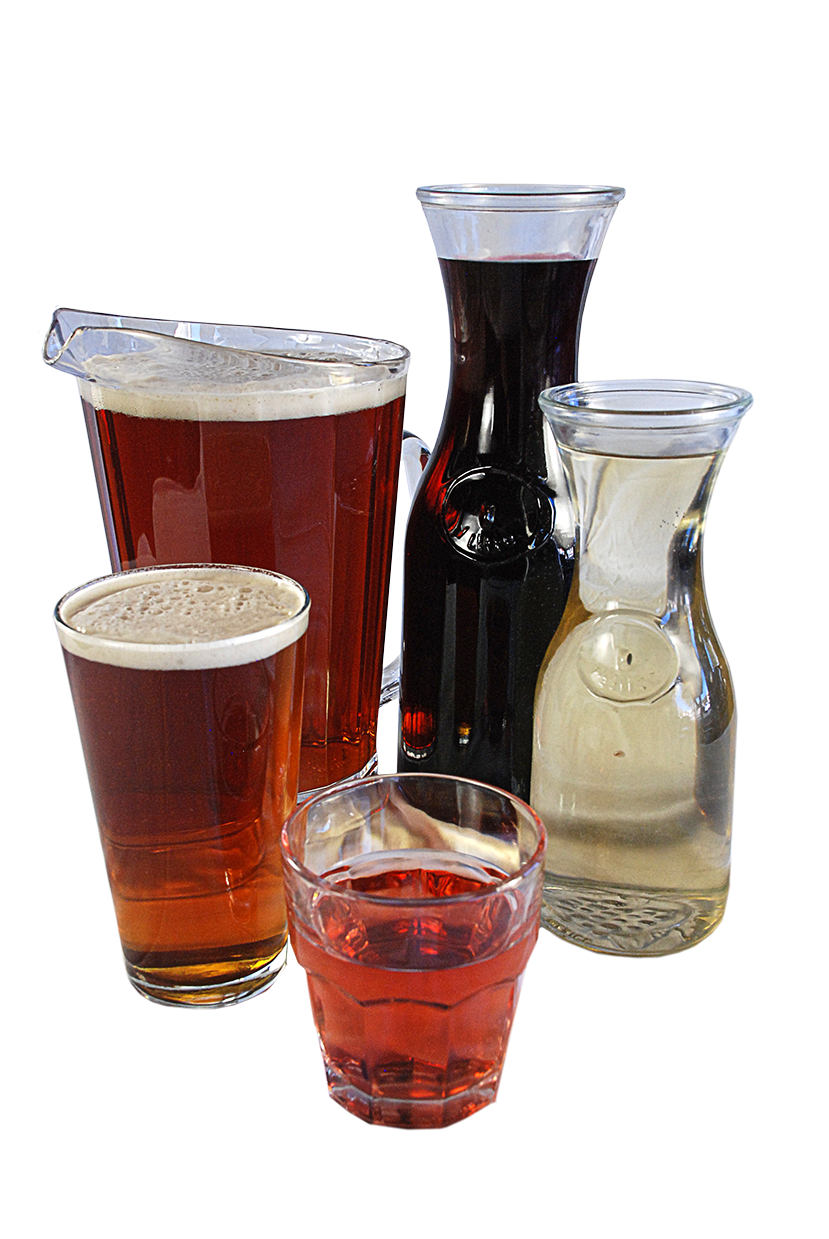 A carafe of Wine and a pitcher of Beer